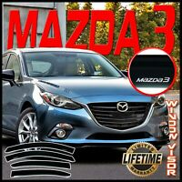For 2014-2018 Mazda 3 Side Window Visor Guards Door Rain Deflectors Vent Shade