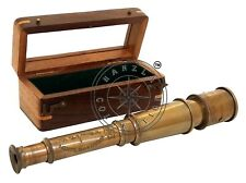 """Nautical Spyglass Vintage Maritime 15"""" Antique Brass Telescope With Wooden Box"""