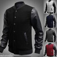 New Men Coat Varsity Letterman College Baseball Jacket PU Leather Sleeve Outwear