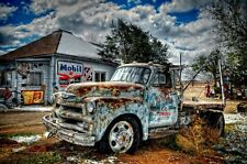 Route 66 Towing Tucimcari, NM 20x30 Photo Chevy truck canvas art ready to hang!