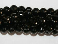 AAA Natural Genuine  Black Jet Faceted  Round Beads 8mm