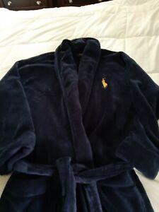 Ralph Lauren Men's Robe Plush Navy Blue EUC one size