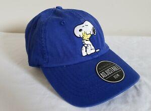 Peanuts Snoopy Woodstock Men's Blue Adjustable Bioworld OSFMHat Cap