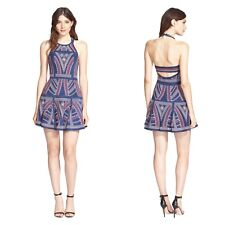 Parker Blue Leona Embroidered Fit & Flare Cutout Open Back Halter Short Dress S