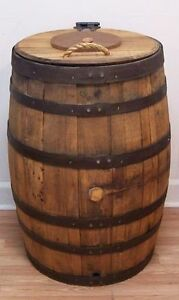 Old Whiskey Barrel Trash Can With Double Hinged Lid & Liner