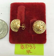 Gold Authentic 18k saudi gold diamond cut half ball earrings..e