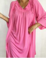 Vintage Hot Pink Late 70s Nylon Night Gown Embroidered W/ Matching Robe