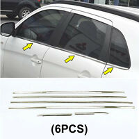 6pcs Stainless Upper Window Frame Sill Trim For Mitsubishi Outlander 2013-2019