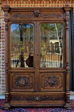 Antique French Oak Renaissance Revival Double Door Bookcase Cabinet Arts Science