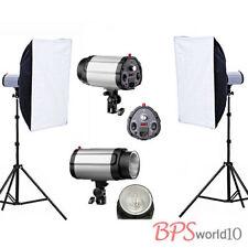 Flash Lighting Kit Set Softbox Soft Strobe Light stand Earthed UK Plug