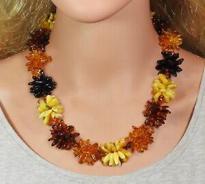 Amber Halskette Vierfarbige Blumen-Kette Natural Jewelry Made From Handmade