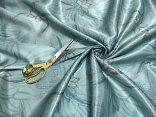 *NEW* Smooth Satin Mint Blue Base Large Floral Print Fabric *FREE POSTAGE*