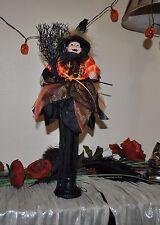 "NEW CUTE WITCH doll Halloween Tassel DRESS BLACK Orange Boa Broom Standing 18"""