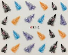 Nail Art 3D Decal Stickers Bold Colored Feathers E413