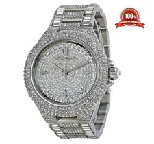 NEW MICHAEL KORS CAMILLE MK5869 SILVER TONE PAVE CRYSTAL GLITZ DIAL WOMENS WATCH