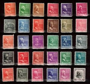 US 1938-1939  Sc# 803 -Sc# 832 (1/2 c-$1.00) Presidents - Mint NH (30 Stamps)