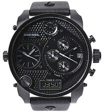 DIESEL MR.DADDY TIME ZONE CHRONOGRAPH BLACK LEATHER STRAP MEN'S WATCH DZ7193