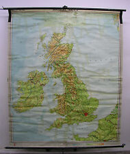 Belles anciennes écoles carte British Isles 184x222cm vintage pop loft TOP 1960