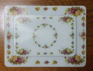 Royal Albert OLD COUNTRY ROSES Tempered Glass Serving Cutting Board Tray 2Pcs