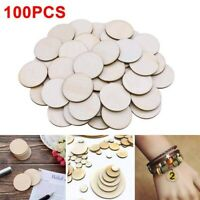 100pcs DIY Natural Blank Wood Pieces Slice Round Unfinished Crafts Wooden Discs