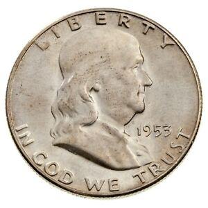 1953-S 50C Franklin Silver Half Dollar in Gem BU Condition, Super Eye Appeal