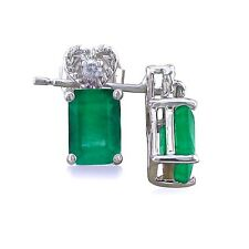 10K WHITE GOLD 1CT GENUINE EMERALD AND DIAMOND EARRINGS