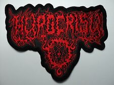 HYPOCRISY  RED LOGO  SHAPED EMBROIDERED  PATCH