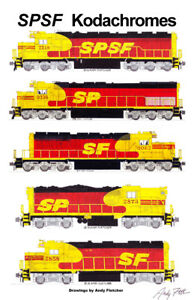 "SPSF Kodachrome Locomotives 11""x17"" Railroad Poster by Andy Fletcher signed"