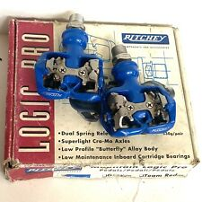 Vtg RITCHEY Logic Pro Clipless Pedals EXC+ Blue Shimano SPD compatible