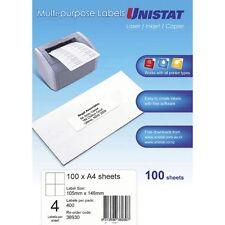 Unistat laser inkjet address labels 4 per sheet 500 sheets 38930 105 x 148mm