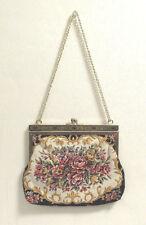 VINTAGE 1960s FLORAL TAPESTRY NEEDLEPOINT HANDBAG / SHOULDER BAG FLOWERS