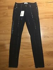 PAIGE Verdugo Mid Rise Ultra Skinny Stretchy Paint Bleach Print Jeans 28 Bnwt