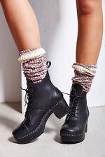 Swedish Hasbeens Grandma Plateau Platform Lace-Up Ankle Clog Boots US 10M 40 NIB