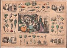 1860 Belle Lithographie les légumes marchande de légumes farines marché