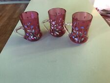 Antique Victorian Beautiful Set/3 Enameled Cranberry Glass Lemonade Cups