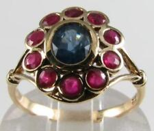 DIVINE 9K 9CT GOLD BLUE SAPPHIRE RUBY ART DECO INS CLUSTER RING FREE RESIZE