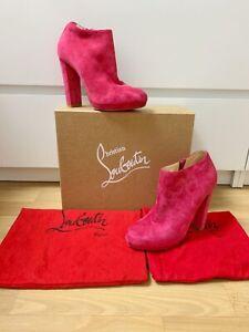 Original Christian Louboutin Boots Booties Wildleder Pink Gr. 39
