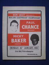 Civic Hall Wolverhampton Boxing Prog - Paul Chance v Micky Baker  25th Jan. 1982