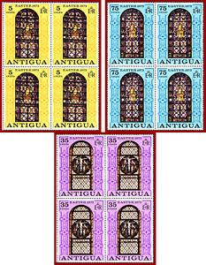 Antigua 1973 ART, Easter, stained-glass windows, SG 286-289 ** MNH, blocks