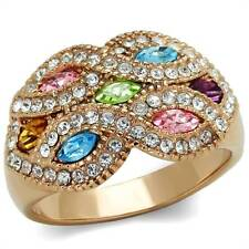 Rose Gold Plated Multi-Coloured Costume Rings