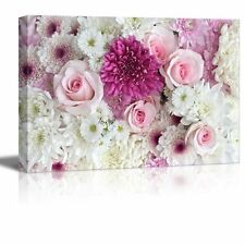 "Canvas Prints Wall Art - Pink and White Roses and Daisies - 32"" x 48"""