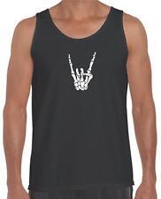 NEW MEN'S PRINTED Punk Skull Skeleton Hand Bone Funny MMA Rock & Roll TANK TOP