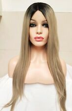 Blonde Ash Silver Grey Human Hair Lace Front Wig, Ombre, Centre Part 27 inches