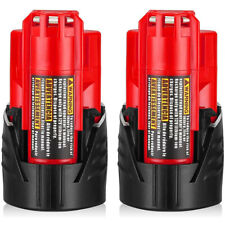2Pack 12V 3.0Ah Lithium-ion Battery for Milwaukee M12 48-11-2420 48-11-2401 Tool