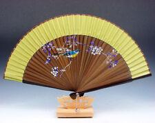 Lovely Bird & Flowers Chinese Folding Fan Hand Fan Wall Decor w/ Stand #05291607