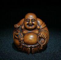Collect Buddhism Old Boxwood Netsuke carve Happy maitreya buddha Statue figurine
