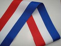 Ruban tricolore BLEU BLANC ROUGE 102mm vendu au ml français, conscrits, medaille
