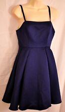 women's navy blue satin dressy dress by wendy bird size 2 full skirt MSRP $129