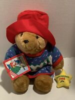 "PADDINGTON HOLIDAY BEAR Plush NEW With Tags 1998 With Ornament 15"" Red Hat-Tags"