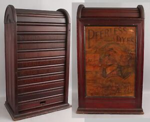 RARE 19thC Advertising Peerless DYES Rolltop Tombstone Store Countertop Cabinet